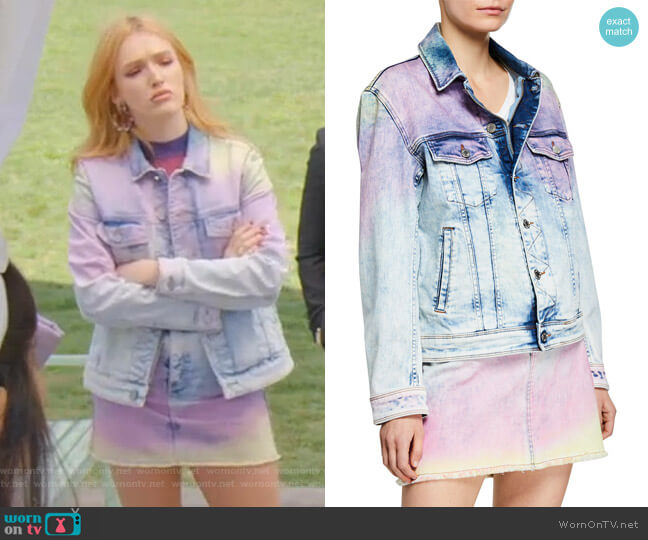 Kase Denim Jacket and Juicy Denim Skirt by Zadig & Voltaire worn by Kirby Anders (Maddison Brown) on Dynasty