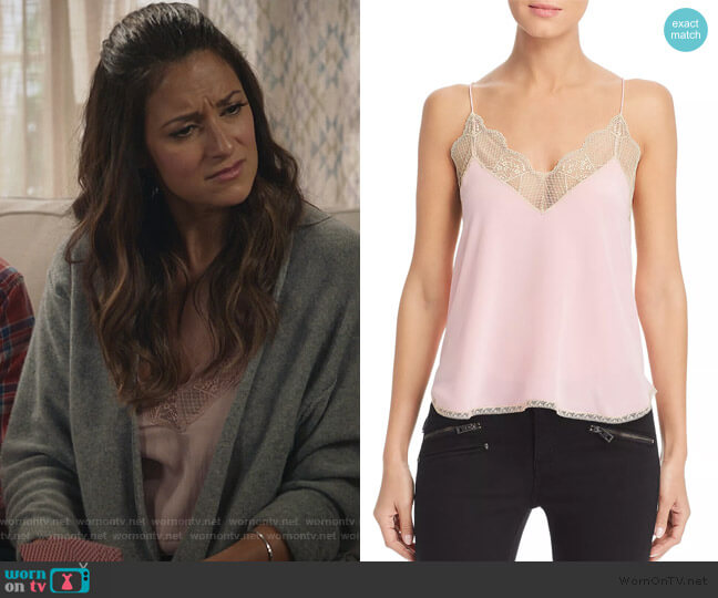 Christy Silk Camisole Top by Zadig & Voltaire worn by Colleen Brandon-Ortega (Angelique Cabral) on Life in Pieces