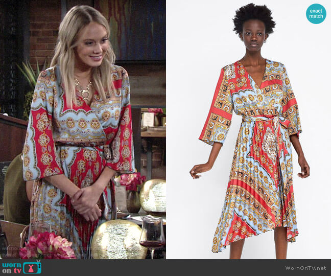 Zara Printed Pleated Dress worn by Abby Newman (Melissa Ordway) on The Young & the Restless