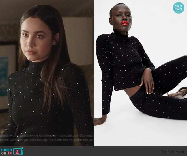 Embellished Top by Zara worn by Ava Jalali (Sofia Carson) on PLL The Perfectionists