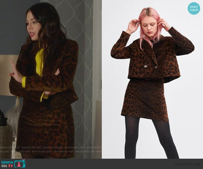 Animal Print Blazer and Skirt by Zara worn by Mona Vanderwaal (Janel Parrish) on PLL The Perfectionists