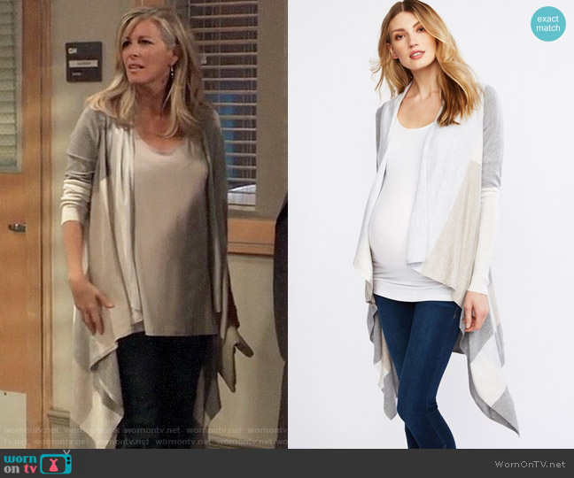 A Pea in the Pod Luxe Essentials Colorblock Maternity Cardigan worn by Carly Corinthos (Laura Wright) on General Hospital