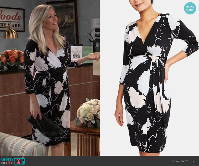 6681d1a5cc756 A Pea in the Pod Maternity Printed Wrap Dress worn by Carly Corinthos  (Laura Wright