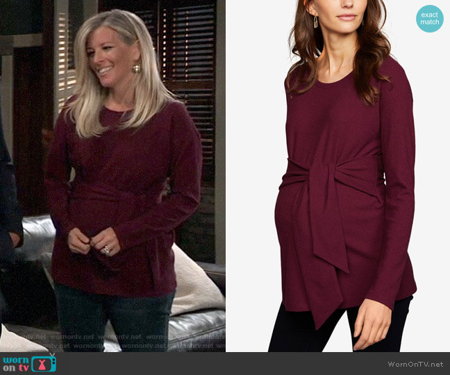 A Pea In The Pod Maternity Tie-Front Top worn by Carly Corinthos (Laura Wright) on General Hospital