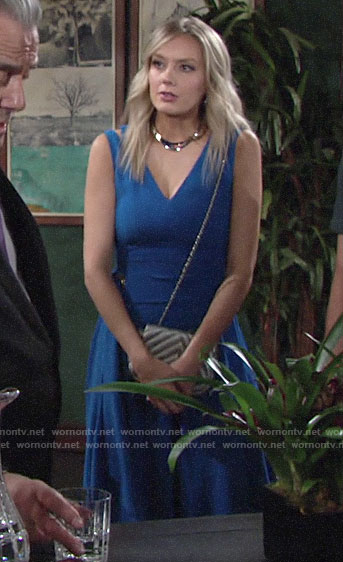 Abby's blue v-neck dress on The Young and the Restless