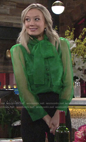 Abby's sheer green blouse on The Young and the Restless