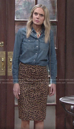 Abby's chambray shirt and leopard print pencil skirt on The Young and the Restless