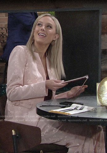 Abby's pink floral jacquard suit on The Young and the Restless