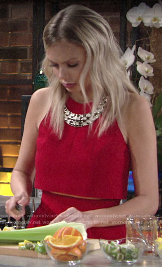Abby's red crop top and skirt on The Young and the Restless