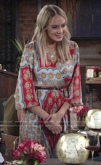 Abby's scarf printed dress on The Young and the Restless