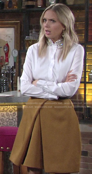 Abby's white pearl collar shirt and yellow skirt on The Young and the Restless