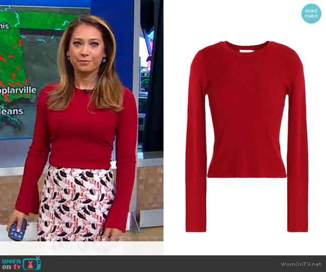 Ribbed Merino Wool-Blend Sweater by A.L.C. worn by Ginger Zee  on Good Morning America