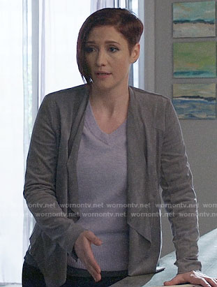 Alex's grey suede draped jacket on Supergirl