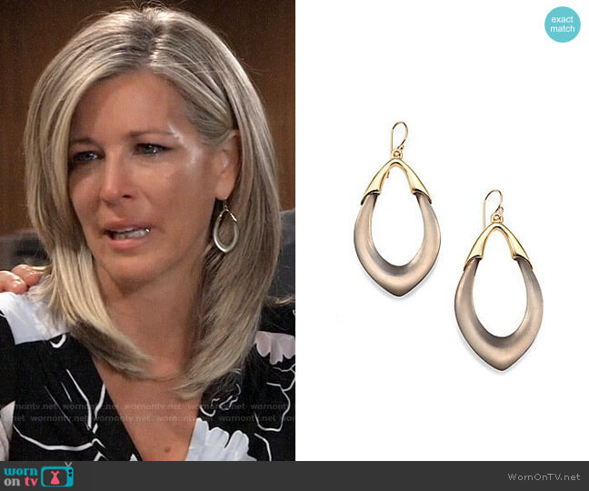 Alexis Bittar Lucite Orbit Link Drop Earrings worn by Carly Corinthos (Laura Wright) on General Hospital