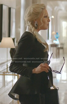 Alexis's black contrast peplum jacket on Dynasty