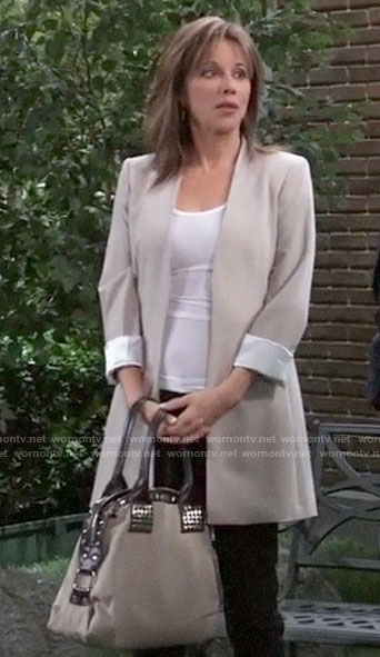 Alexis's long beige blazer and studded bag on General Hospital