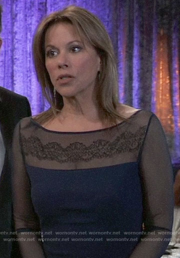 Alexis's navy embroidered mesh sleeve gown at the Nurse's Ball on General Hospital