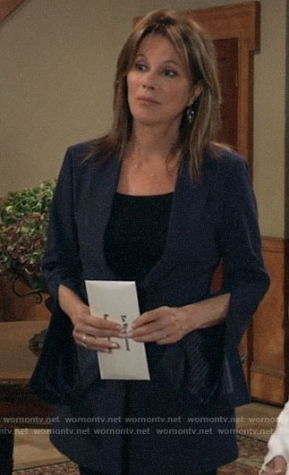 Alexis's navy split-sleeve blazer on General Hospital