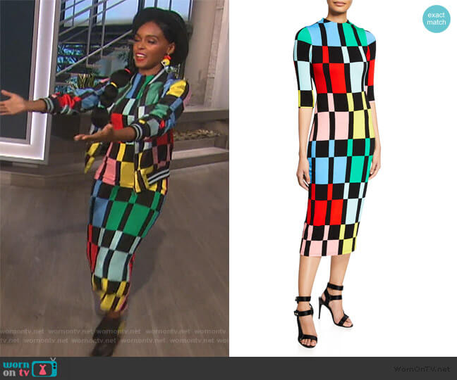 Delora Geometric Print Midi Dress by Alice + Olivia worn by Janelle Monae on The Talk