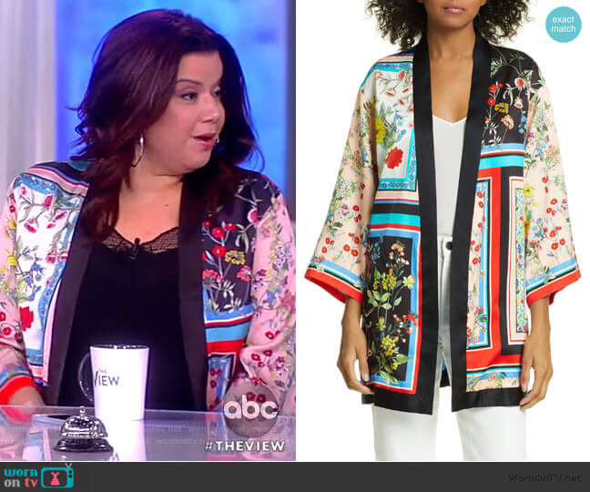 Koko Patchwork Print Open Front Jacket by Alice + Olivia worn by Ana Navarro (Ana Navarro) on The View