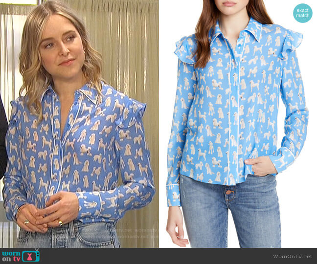 Zimmer Blouse by Alice + Olivia worn by Jenny Mollen on The Bachelorette