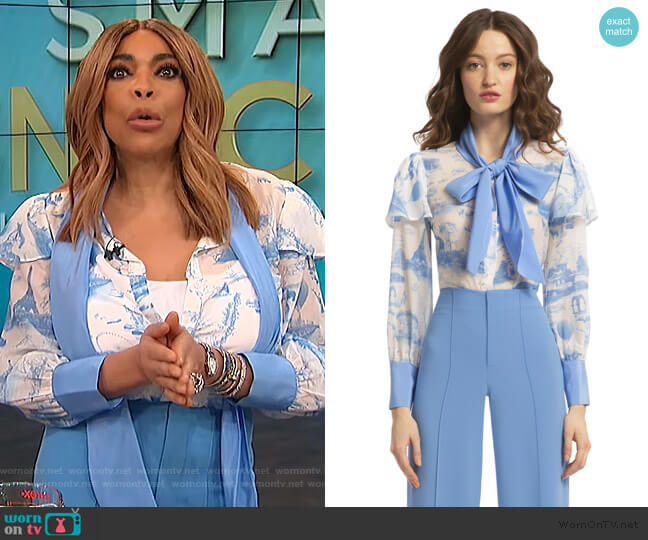 Talulah Ruffle Sleeve Blouse by Alice + Olivia worn by Wendy Williams  on The Wendy Williams Show
