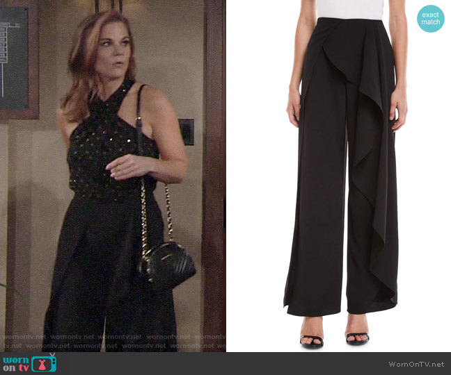 Alice + Olivia Verdell Slit Ruffle Wide-Leg Pants worn by Phyllis Newman (Gina Tognoni) on The Young & the Restless