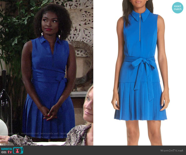 Alice + Olivia Yoko Zip Front Pleated Dress worn by Ana Hamilton (Loren Lott) on The Young & the Restless