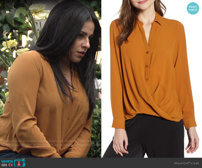 All in Favor Patterned Drape Front Blouse worn by Mia Rosales (Noemi Gonzalez) on The Young & the Restless