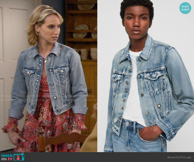 All Saints Lexi Denim Jacket worn by Mandy Baxter (Molly McCook) on Last Man Standing