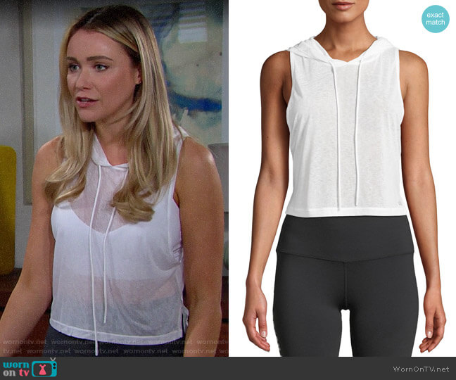 Alo Yoga Arrow Sheer Crop Tank Hoodie worn by Florence (Katrina Bowden) on The Bold & the Beautiful