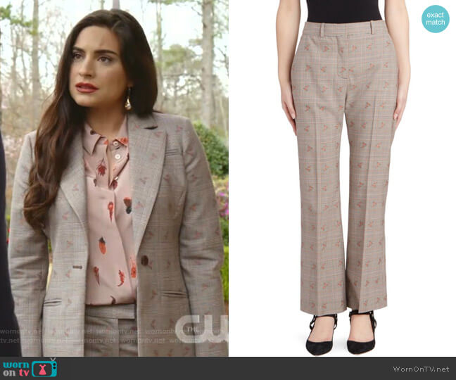 Alder Floral Check Trousers by Altuzarra worn by Cristal Jennings (Daniella Alonso) on Dynasty