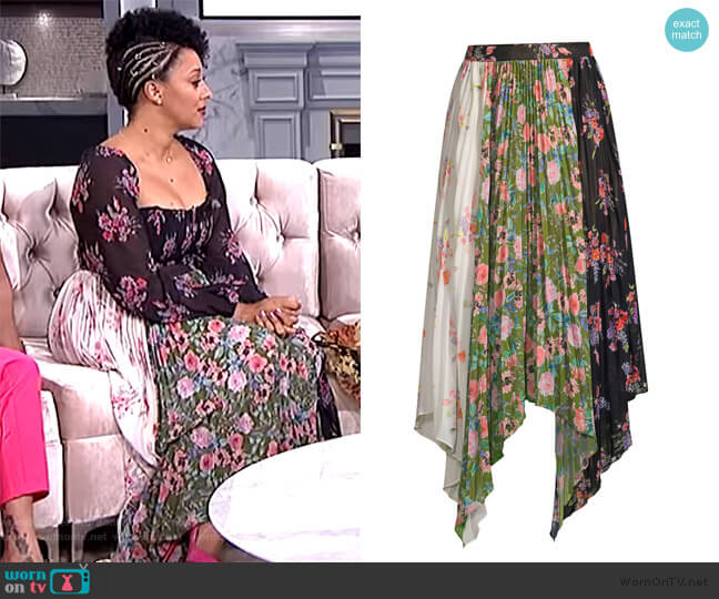 Mica Floral Print Asymmetrical Skirt by Amur worn by Tamera Mowry  on The Real