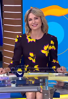 Amy's brown floral dress on Good Morning America