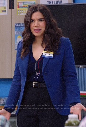 Amy's navy cardigan with colorful trim on Superstore