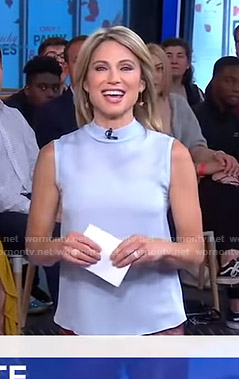 Amy's pastel blue sleeveless top on Good Morning America