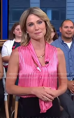 Amy's pink striped tie neck top on Good Morning America