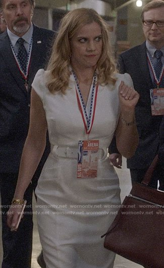 Amy's white belted dress on Veep