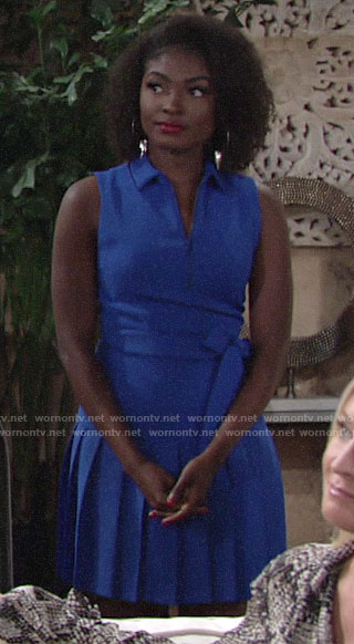 Ana's blue pleated polo dress on The Young and the Restless