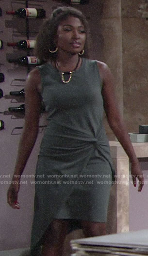 Ana's grey twist front dress on The Young and the Restless