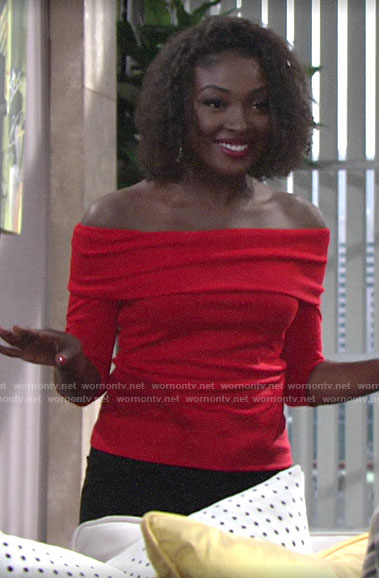 Ana's red off-shoulder top on The Young and the Restless