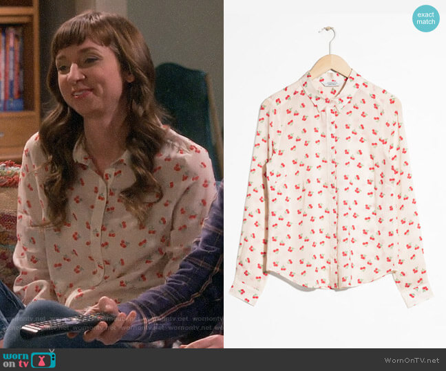 & Other Stories Cherry Print Button Down worn by Denise on The Big Bang Theory