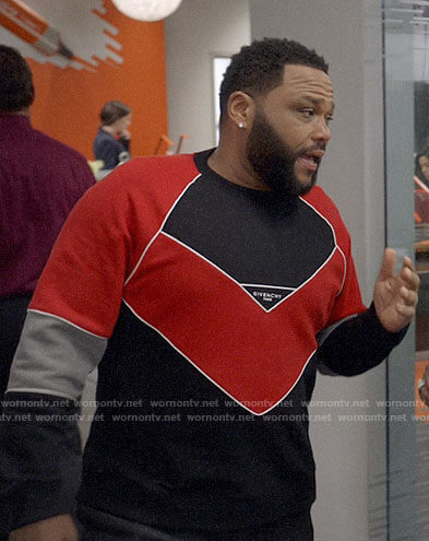 Andre's red and black Givenchy logo sweater on Black-ish