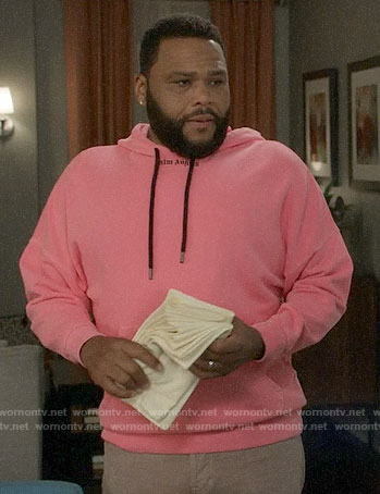Andre's pink Palm Angels hoodie on Black-ish