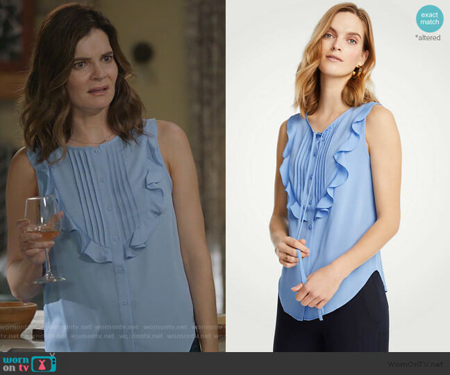 Pintucked Ruffle Bib Shell by Ann Taylor worn by Heather Hughes (Betsy Brandt) on Life in Pieces