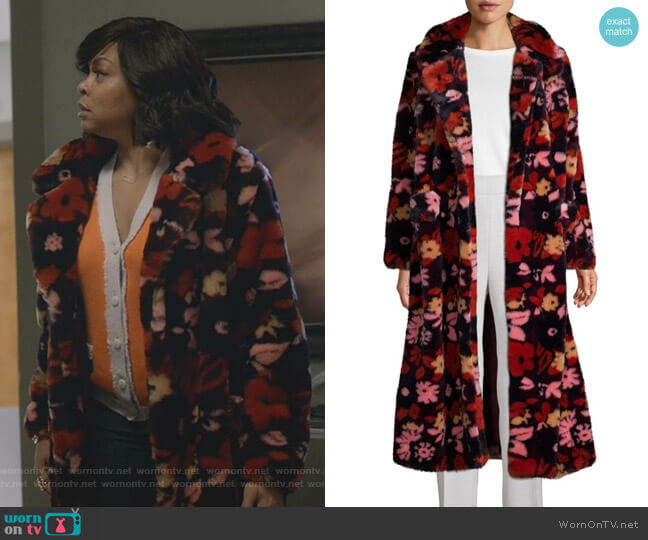 Open-Front Faux Fur Coat by Anna Sui worn by Cookie Lyon (Taraji P. Henson) on Empire