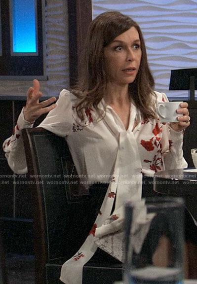 Anna's red and white floral tie neck blouse on General Hospital