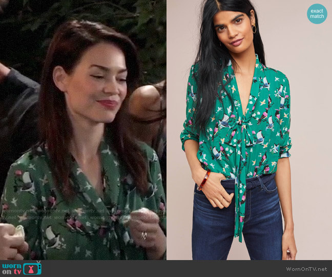 Anthropologie Colloquial Neck-Tie Blouse worn by Elizabeth Webber (Rebecca Herbst) on General Hospital