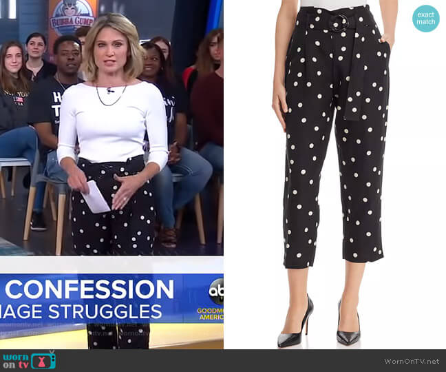 Belted Polka Dot Pants by Aqua worn by Amy Robach  on Good Morning America