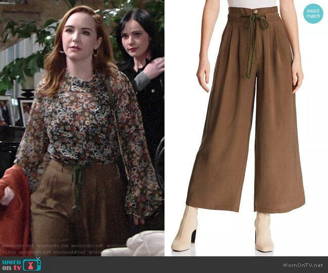 Aqua Pleated Wide-Leg Pants worn by Mariah Copeland (Camryn Grimes) on The Young & the Restless